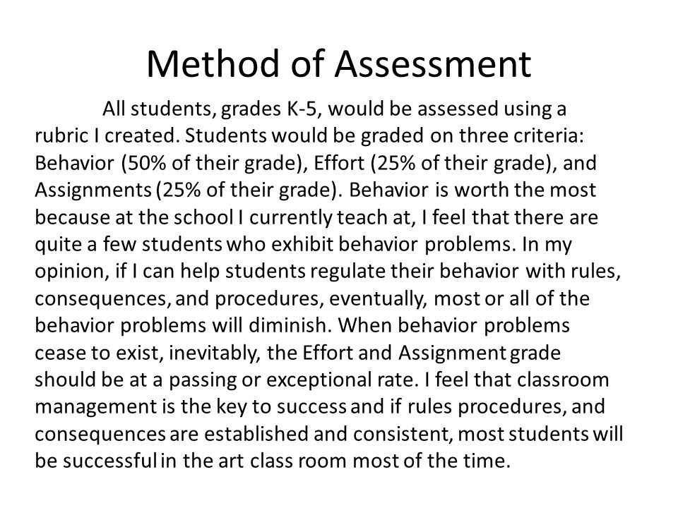 Method of Assessment All students, grades K-5, would be assessed using a rubric I created.