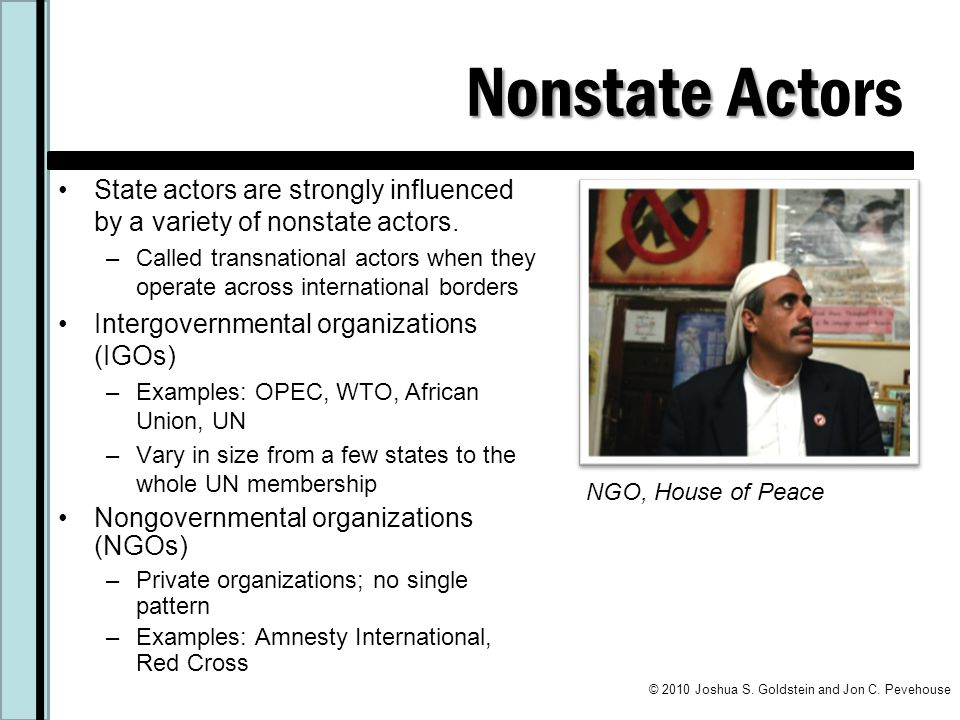 Nonstate Act Nonstate Actors State actors are strongly influenced by a variety of nonstate actors.