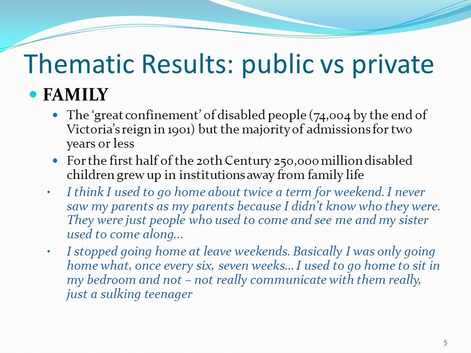 Thematic Results: public vs private FAMILY The 'great confinement' of disabled people (74,004 by the end of Victoria's reign in 1901) but the majority of admissions for two years or less For the first half of the 20th Century 250,000 million disabled children grew up in institutions away from family life I think I used to go home about twice a term for weekend.
