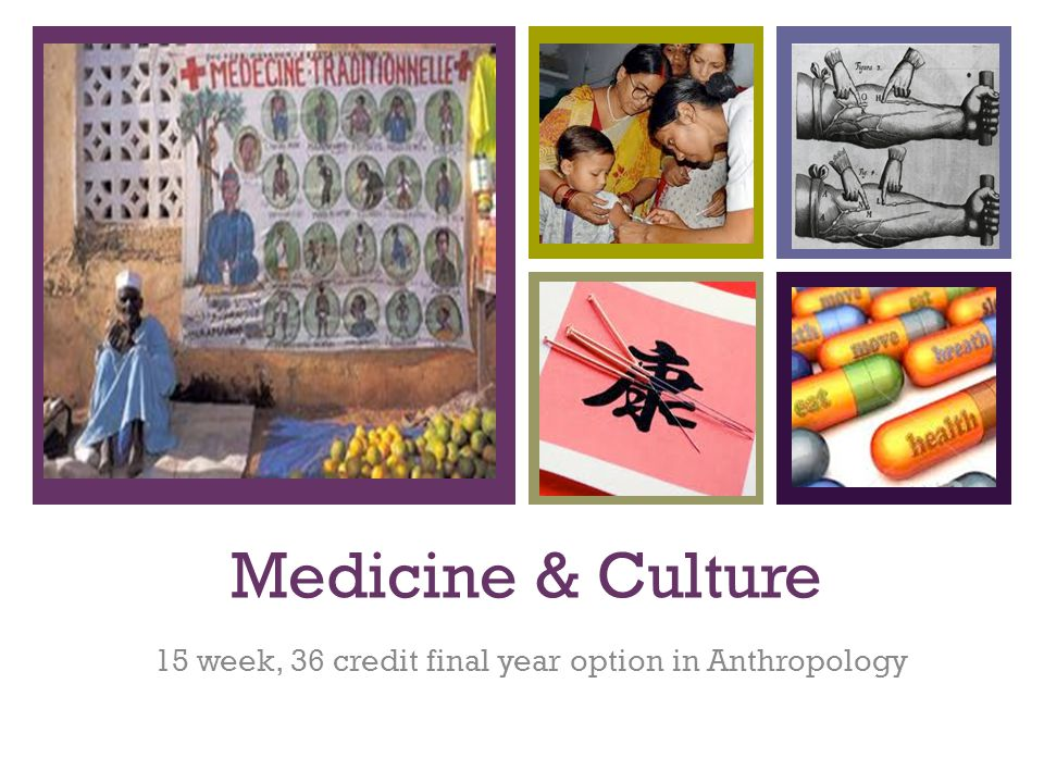 + Medicine & Culture 15 week, 36 credit final year option in Anthropology