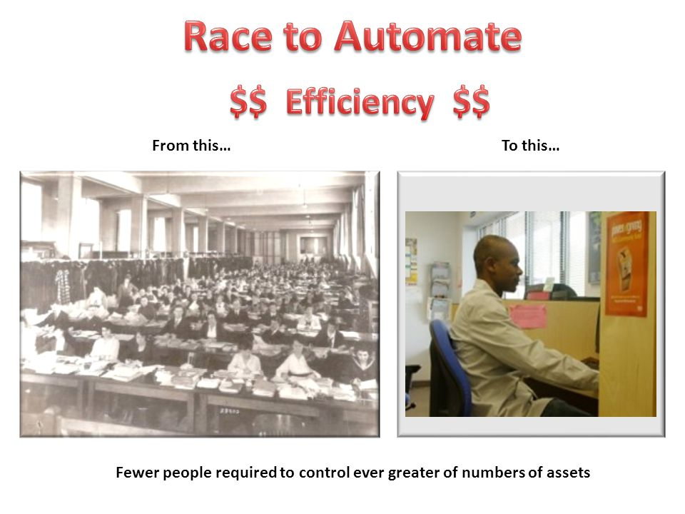 Fewer people required to control ever greater of numbers of assets From this…To this…