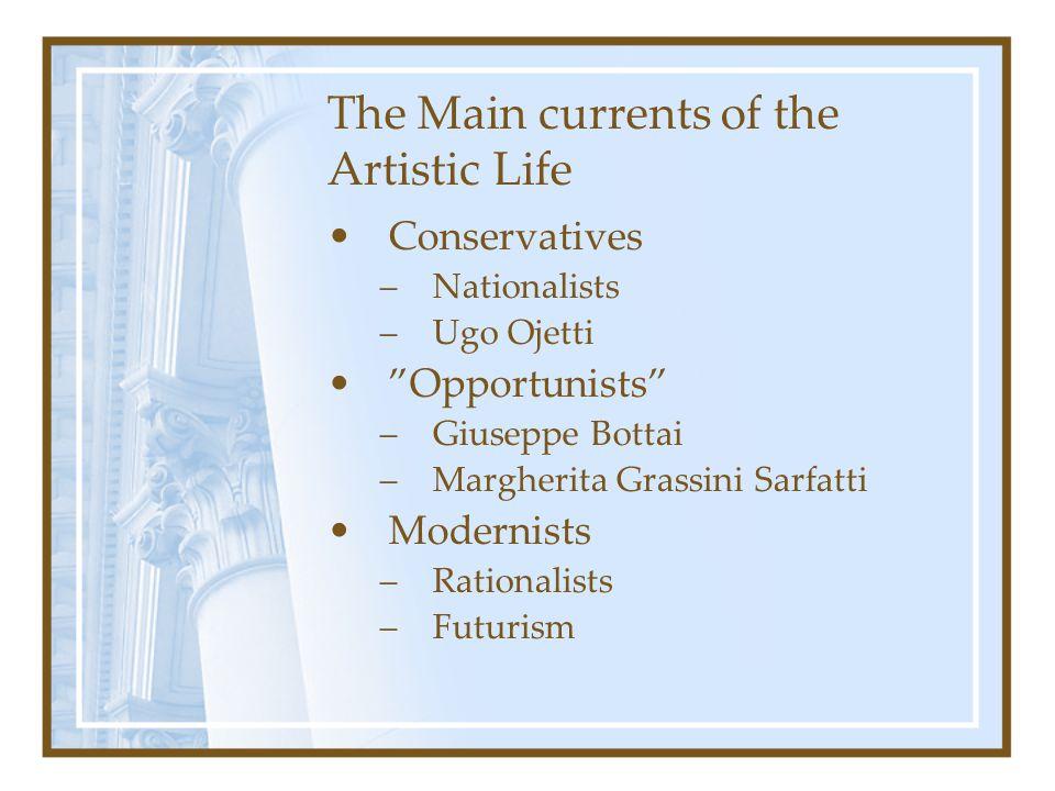 "The Main currents of the Artistic Life Conservatives –Nationalists –Ugo Ojetti ""Opportunists"" –Giuseppe Bottai –Margherita Grassini Sarfatti Modernist"