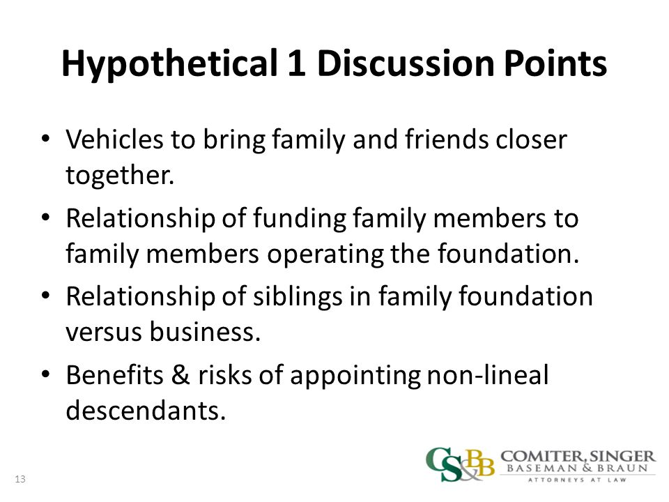 Hypothetical 1 Discussion Points Vehicles to bring family and friends closer together.