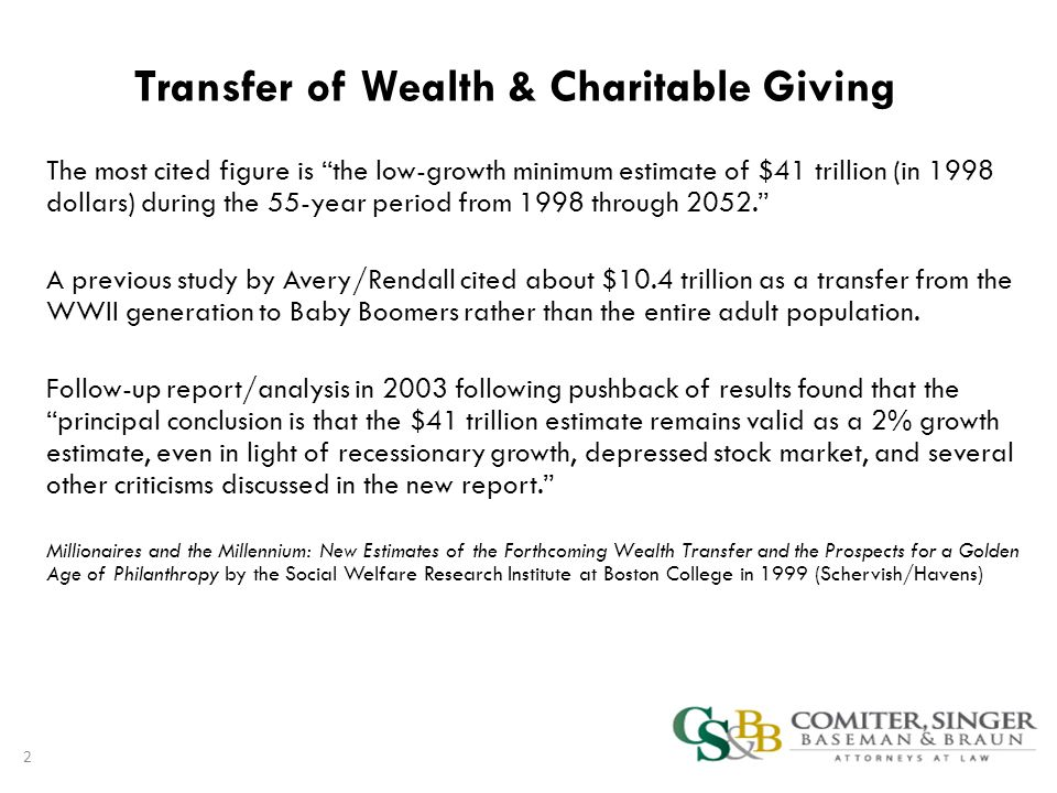 Transfer of Wealth & Charitable Giving The most cited figure is the low-growth minimum estimate of $41 trillion (in 1998 dollars) during the 55-year period from 1998 through 2052. A previous study by Avery/Rendall cited about $10.4 trillion as a transfer from the WWII generation to Baby Boomers rather than the entire adult population.