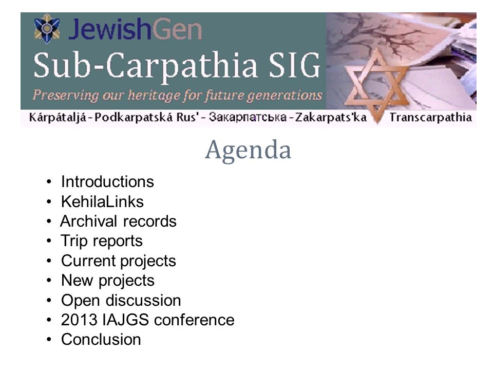 Agenda Introductions KehilaLinks Archival records Trip reports Current projects New projects Open discussion 2013 IAJGS conference Conclusion