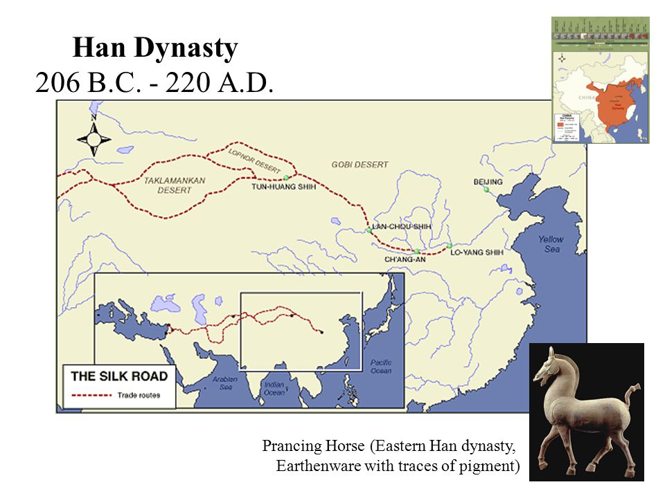 Han Dynasty 206 B.C. - 220 A.D. Prancing Horse (Eastern Han dynasty, Earthenware with traces of pigment)