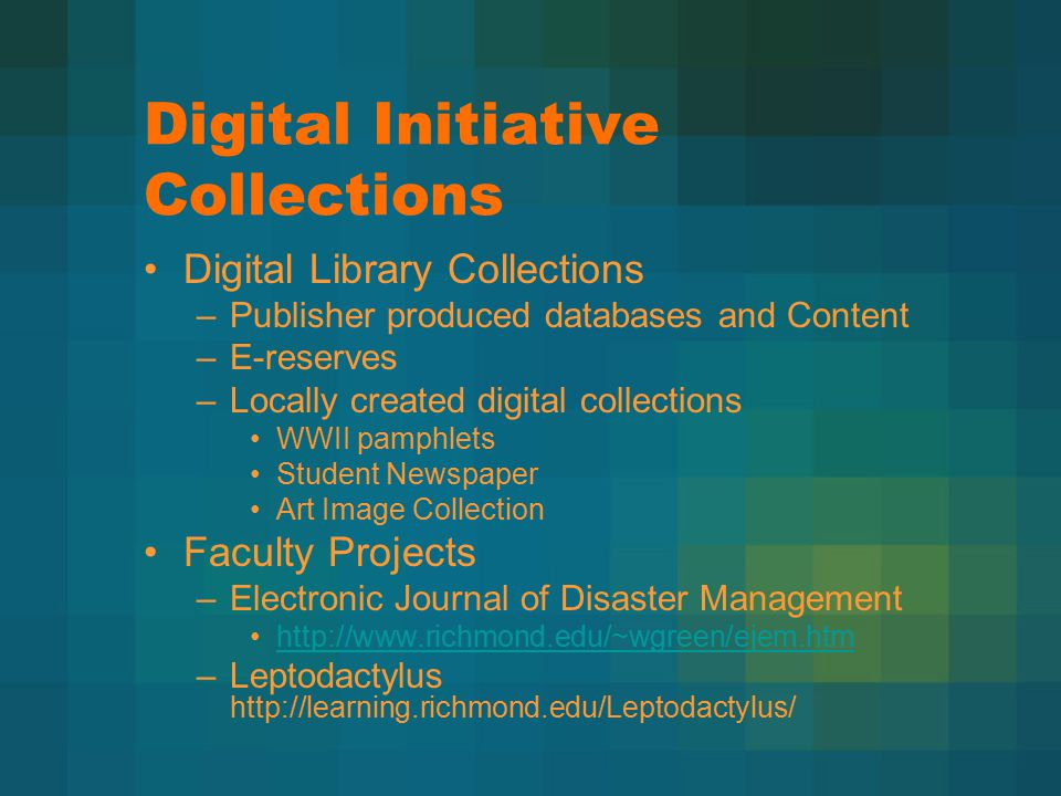 Digital Initiative Collections Digital Library Collections –Publisher produced databases and Content –E-reserves –Locally created digital collections