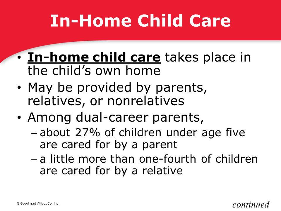© Goodheart-Willcox Co., Inc. In-Home Child Care In-home child care takes place in the child's own home In-home child care May be provided by parents,