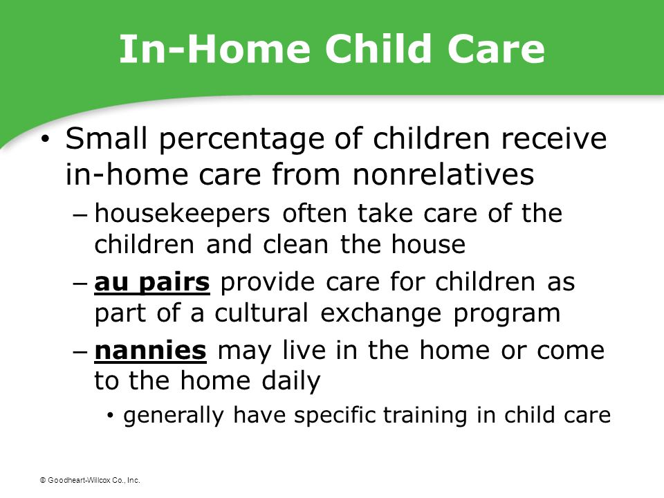 © Goodheart-Willcox Co., Inc. In-Home Child Care Small percentage of children receive in-home care from nonrelatives – housekeepers often take care of