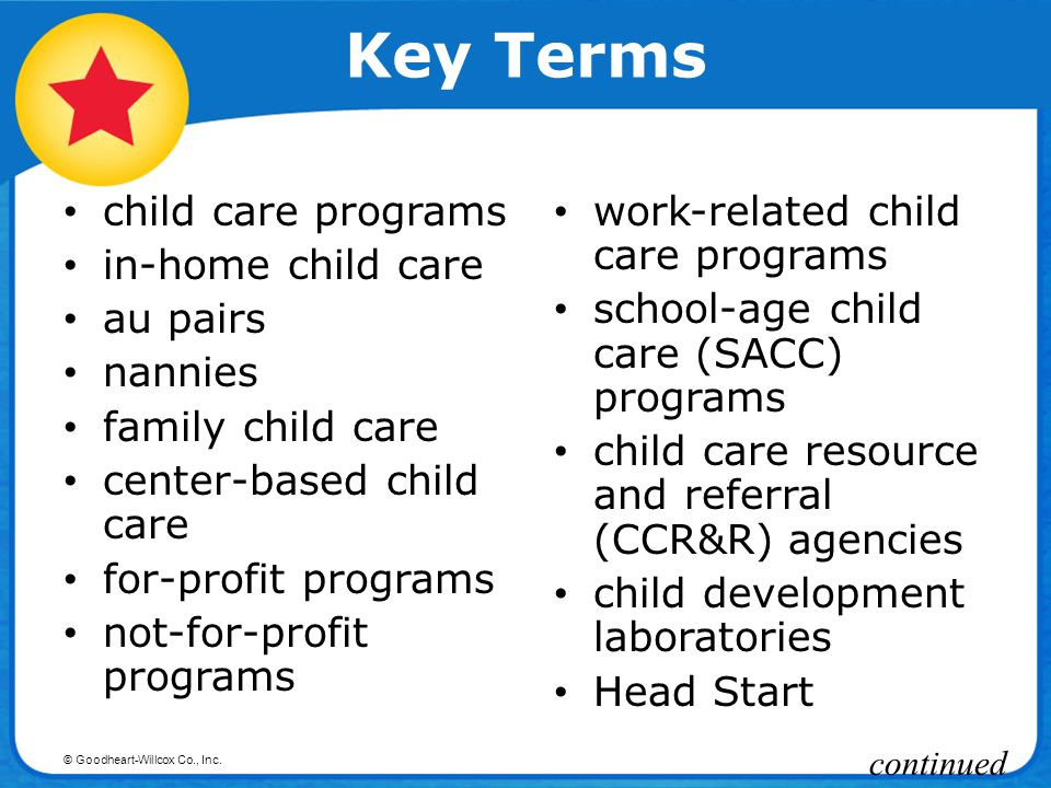 © Goodheart-Willcox Co., Inc. Key Terms child care programs in-home child care au pairs nannies family child care center-based child care for-profit p