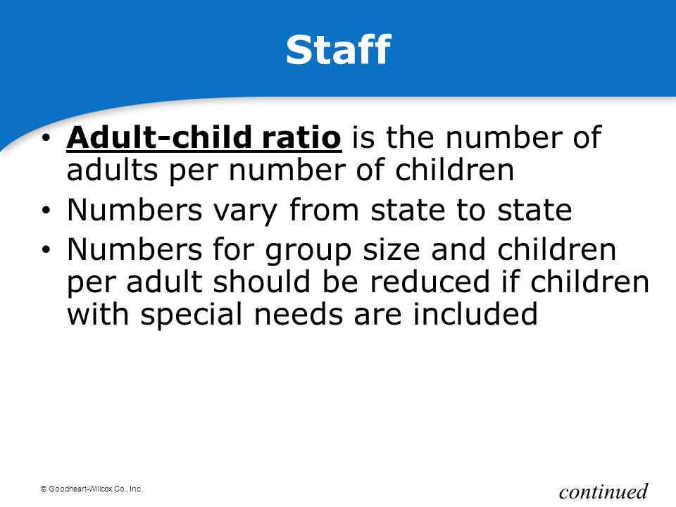 © Goodheart-Willcox Co., Inc. Staff Adult-child ratio is the number of adults per number of children Adult-child ratio Numbers vary from state to stat