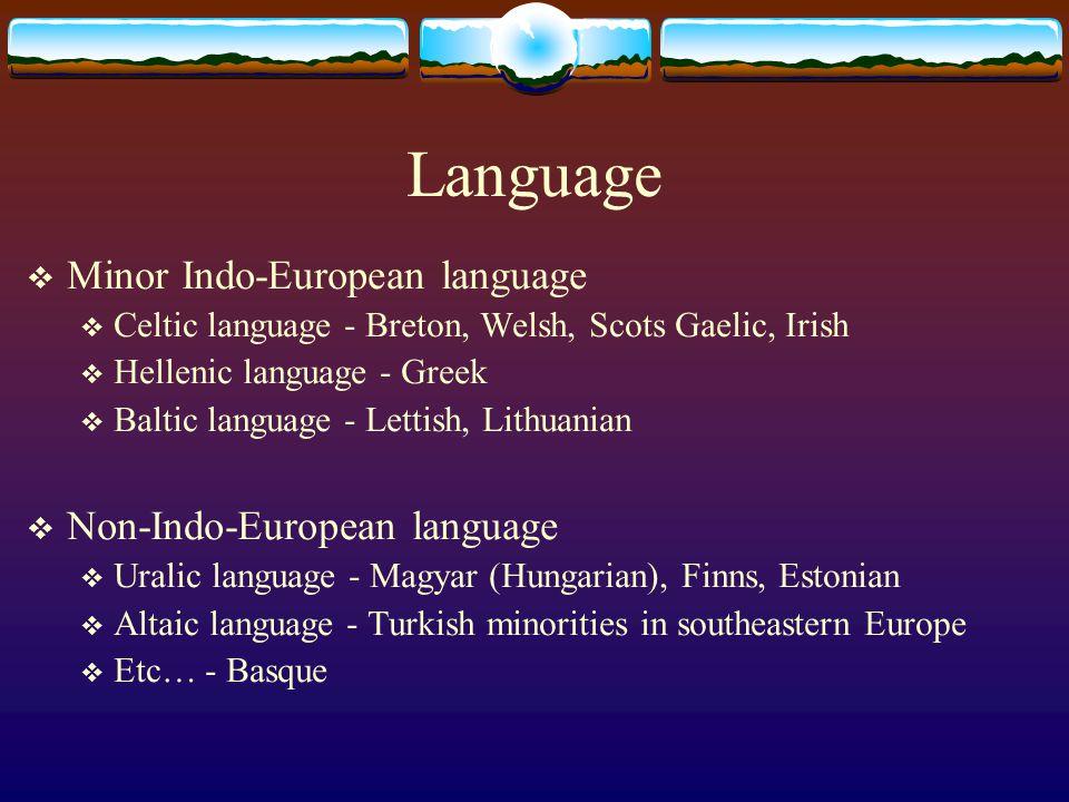 Language  Minor Indo-European language  Celtic language - Breton, Welsh, Scots Gaelic, Irish  Hellenic language - Greek  Baltic language - Lettish