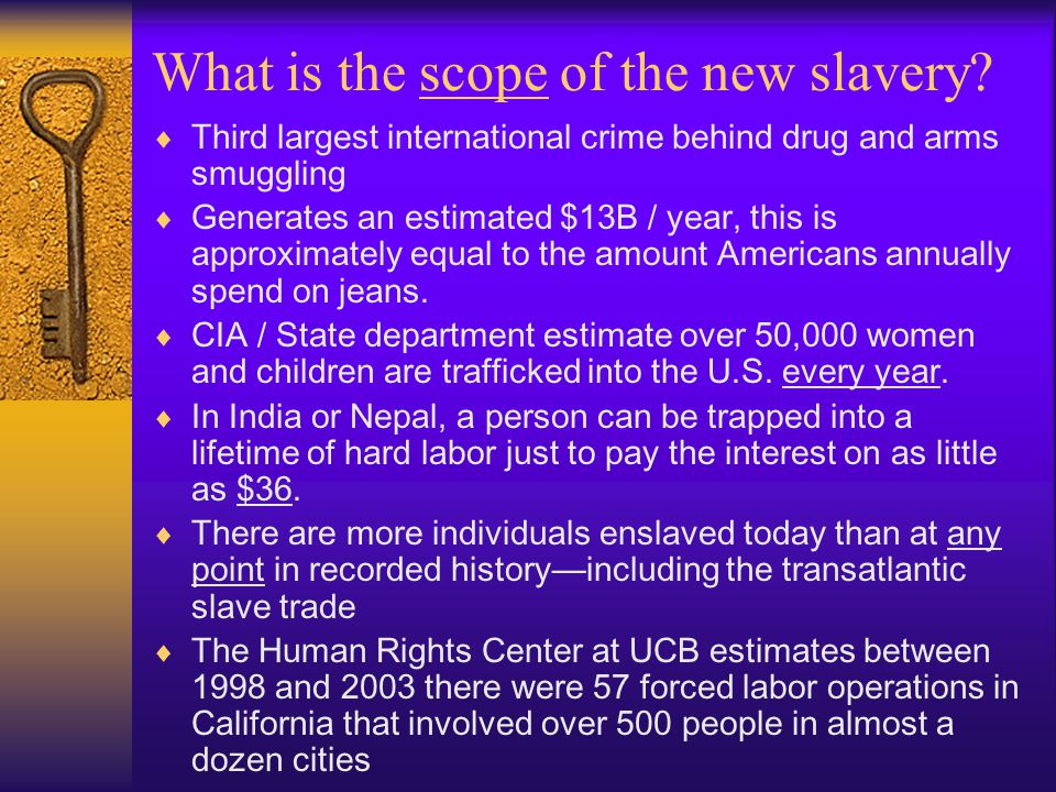 What is the scope of the new slavery.