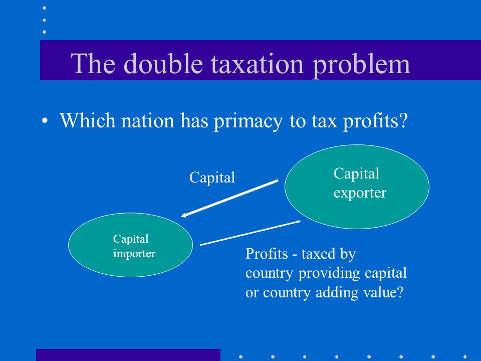 The double taxation problem Which nation has primacy to tax profits.