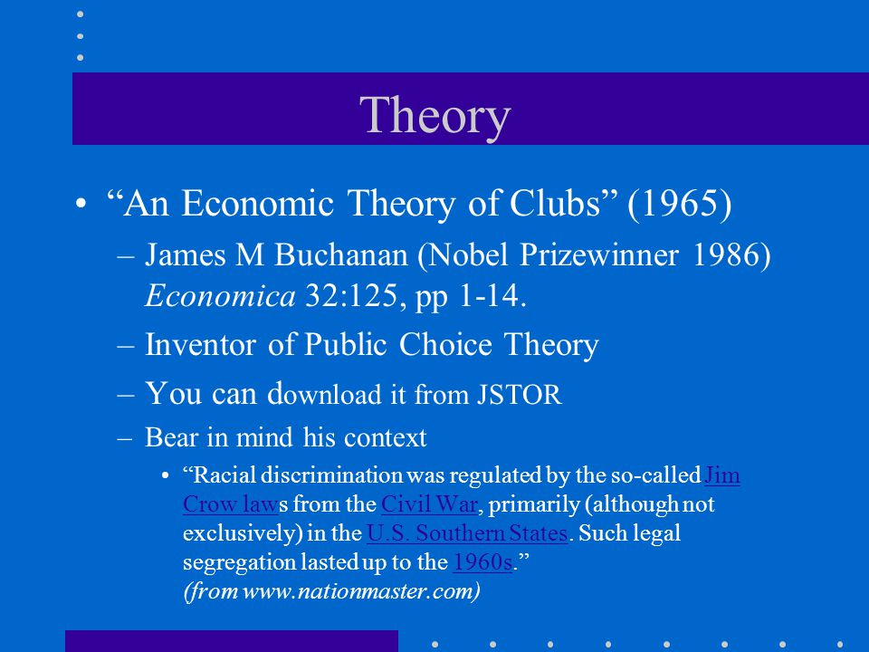 Theory An Economic Theory of Clubs (1965) –James M Buchanan (Nobel Prizewinner 1986) Economica 32:125, pp 1-14.