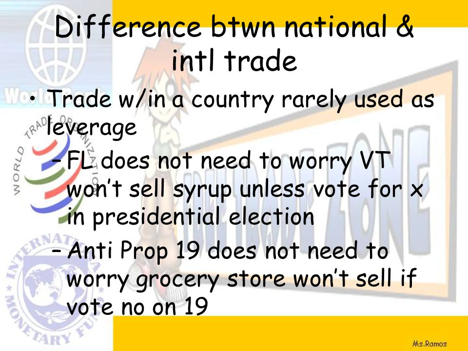 Difference btwn national & intl trade Trade w/in a country rarely used as leverage –FL does not need to worry VT won't sell syrup unless vote for x in presidential election –Anti Prop 19 does not need to worry grocery store won't sell if vote no on 19
