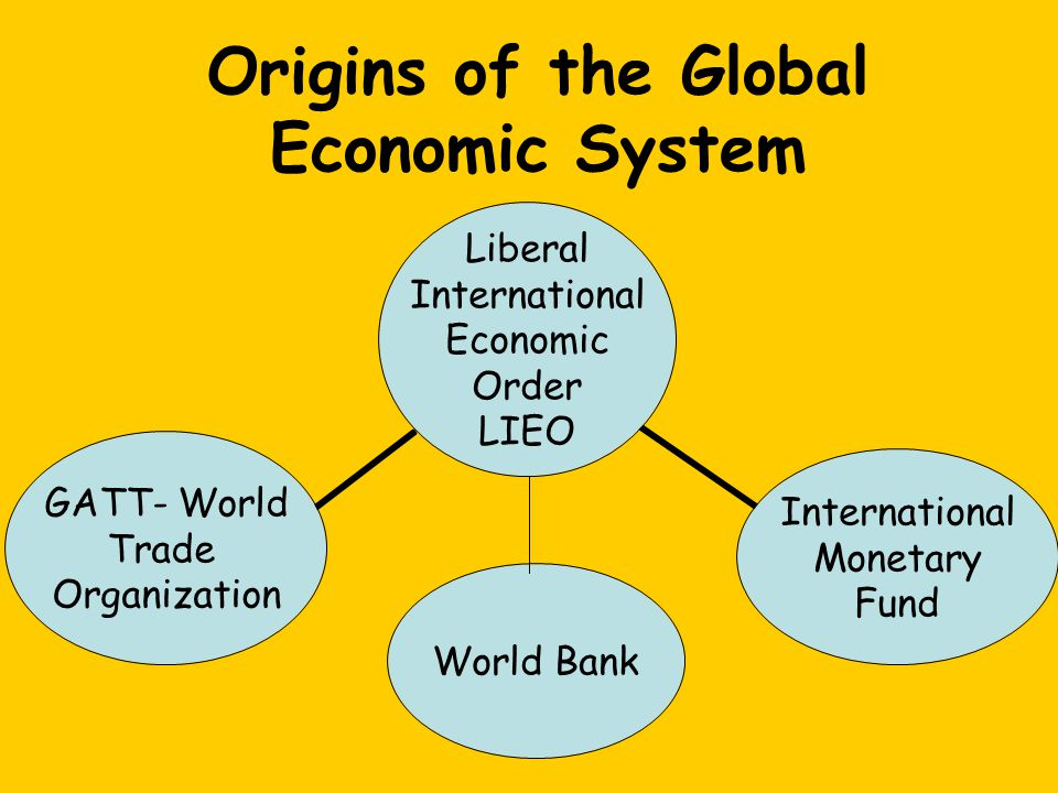 Liberal International Economic Order LIEO World Bank International Monetary Fund GATT- World Trade Organization Origins of the Global Economic System