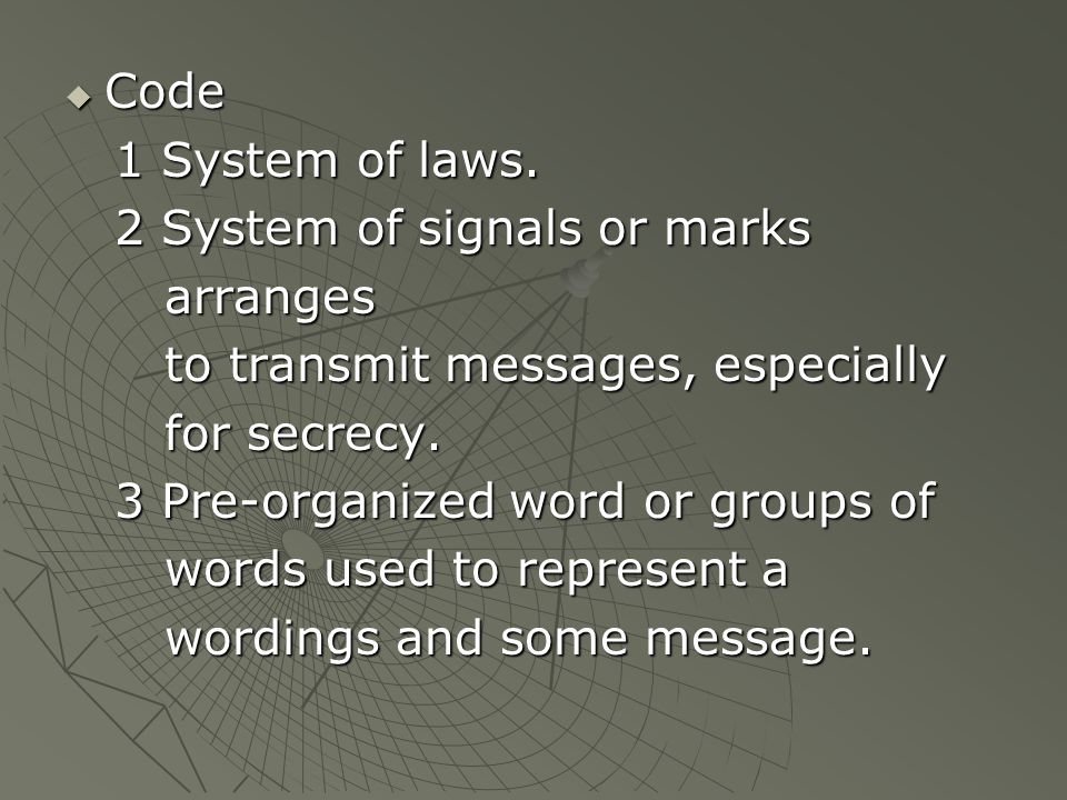  Code 1 System of laws.1 System of laws.