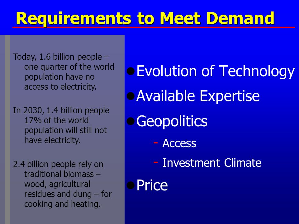Requirements to Meet Demand ● Evolution of Technology ● Available Expertise ● Geopolitics - Access - Investment Climate ● Price Today, 1.6 billion peo