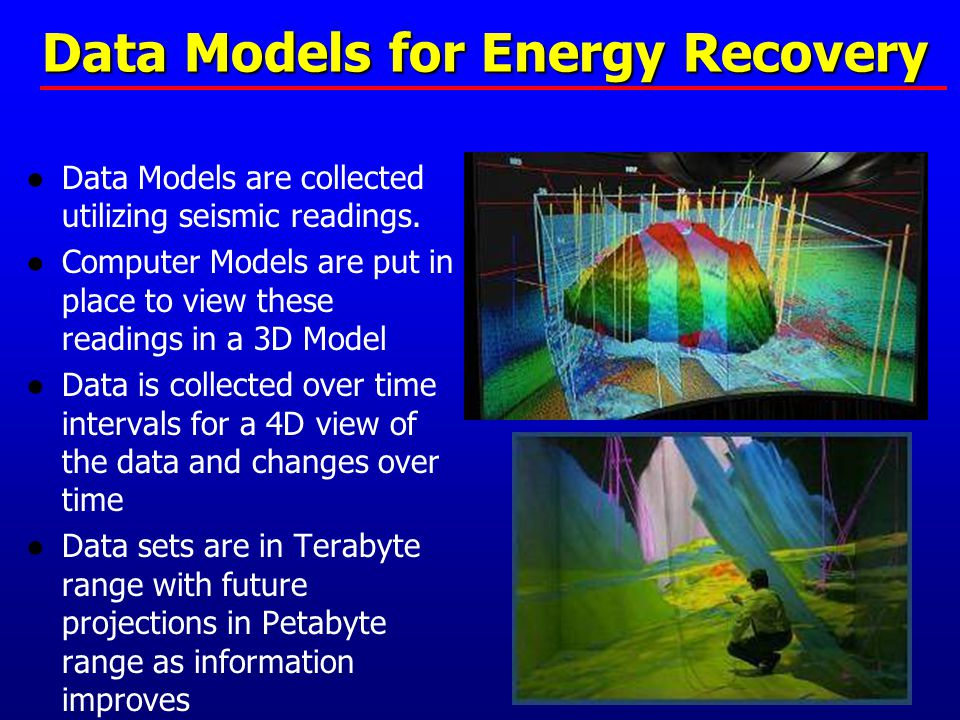 Data Models for Energy Recovery ●Data Models are collected utilizing seismic readings. ●Computer Models are put in place to view these readings in a 3
