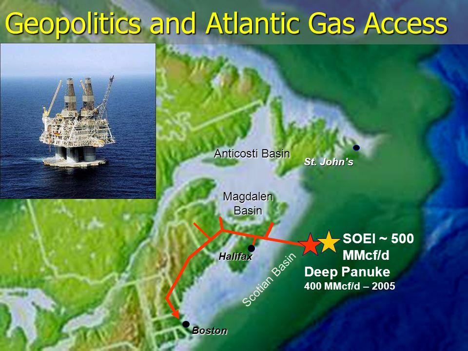 Halifax Geopolitics and Atlantic Gas Access Anticosti Basin MagdalenBasin Scotian Basin Deep Panuke 400 MMcf/d – 2005 St.