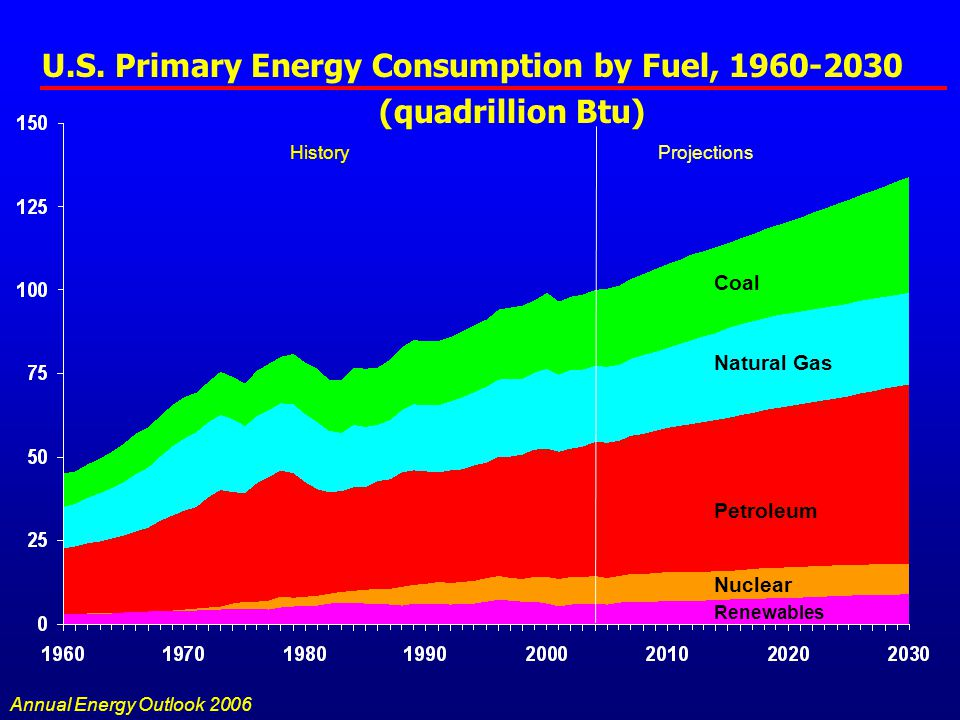 U.S. Primary Energy Consumption by Fuel, 1960-2030 (quadrillion Btu) Natural Gas Petroleum Coal Nuclear Renewables Annual Energy Outlook 2006 HistoryP