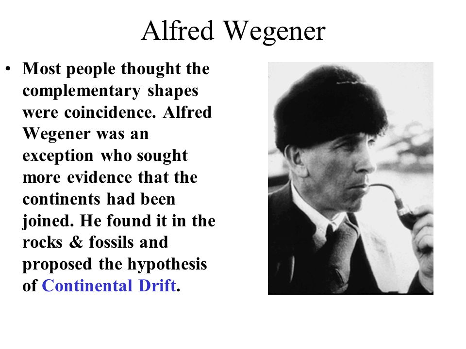 Alfred Wegener Most people thought the complementary shapes were coincidence. Alfred Wegener was an exception who sought more evidence that the contin