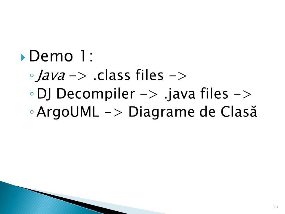  Demo 1: ◦ Java ->.class files -> ◦ DJ Decompiler ->.java files -> ◦ ArgoUML -> Diagrame de Clasă 23