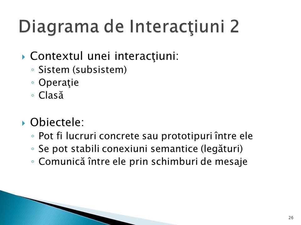  Contextul unei interacţiuni: ◦ Sistem (subsistem) ◦ Operaţie ◦ Clasă  Obiectele: ◦ Pot fi lucruri concrete sau prototipuri între ele ◦ Se pot stabili conexiuni semantice (legături) ◦ Comunică între ele prin schimburi de mesaje 26
