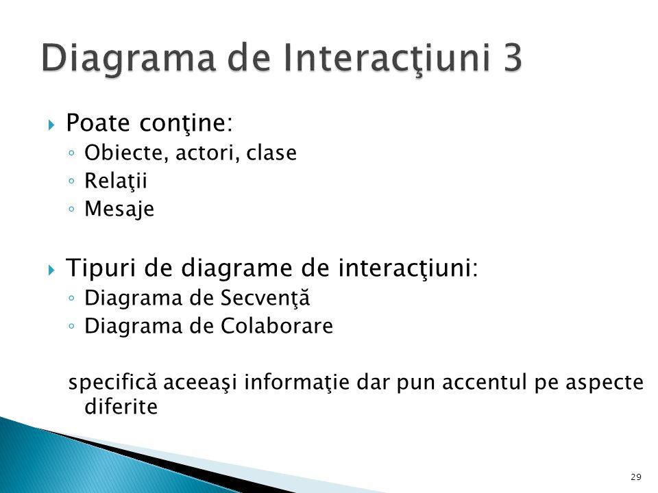  Poate conţine: ◦ Obiecte, actori, clase ◦ Relaţii ◦ Mesaje  Tipuri de diagrame de interacţiuni: ◦ Diagrama de Secvenţă ◦ Diagrama de Colaborare specifică aceeaşi informaţie dar pun accentul pe aspecte diferite 29