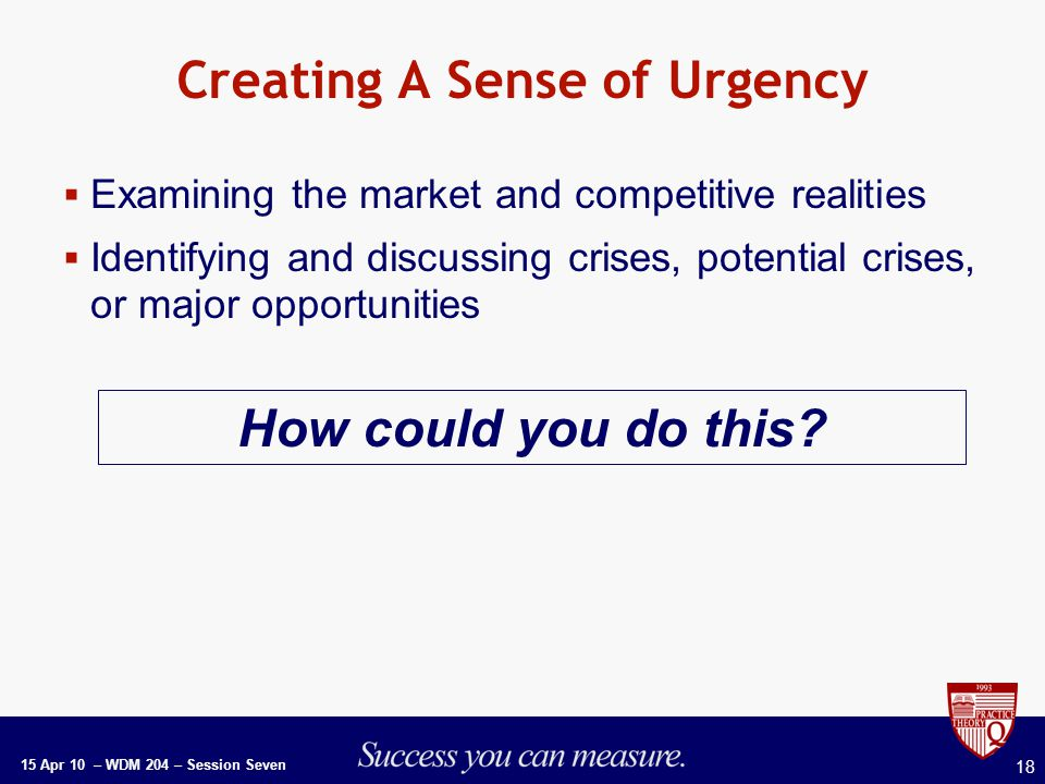 15 Apr 10 – WDM 204 – Session Seven 18 Creating A Sense of Urgency  Examining the market and competitive realities  Identifying and discussing crises, potential crises, or major opportunities How could you do this
