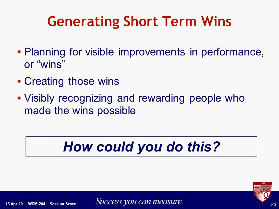 15 Apr 10 – WDM 204 – Session Seven 23 Generating Short Term Wins  Planning for visible improvements in performance, or wins  Creating those wins  Visibly recognizing and rewarding people who made the wins possible How could you do this