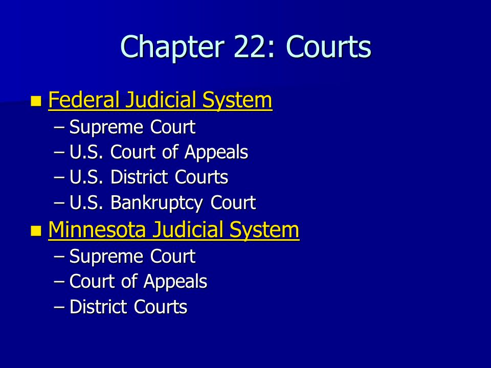 Chapter 22: Courts Federal Judicial System Federal Judicial System Federal Judicial System Federal Judicial System –Supreme Court –U.S.