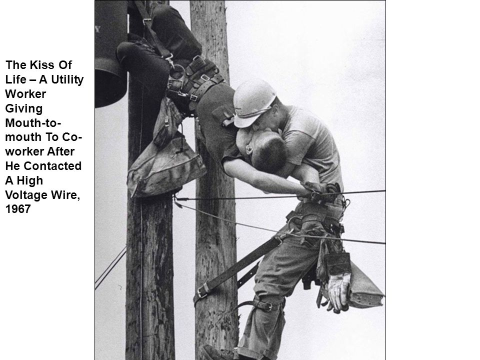 The Kiss Of Life – A Utility Worker Giving Mouth-to- mouth To Co- worker After He Contacted A High Voltage Wire, 1967