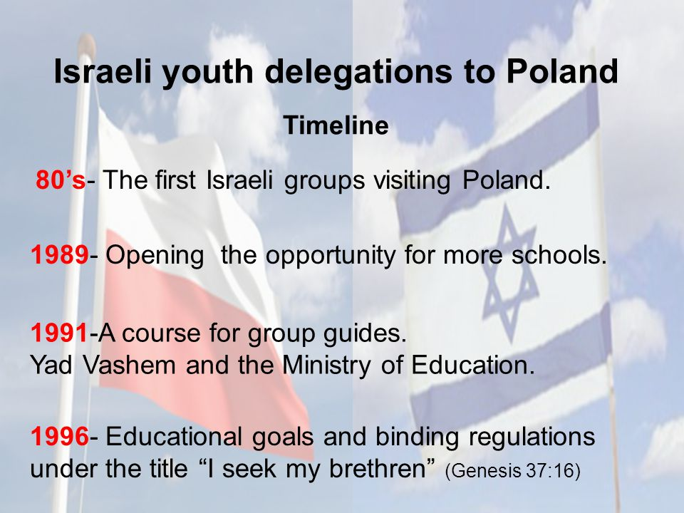 Israeli youth delegations to Poland Timeline 1996- Educational goals and binding regulations under the title I seek my brethren (Genesis 37:16) 80's- The first Israeli groups visiting Poland.