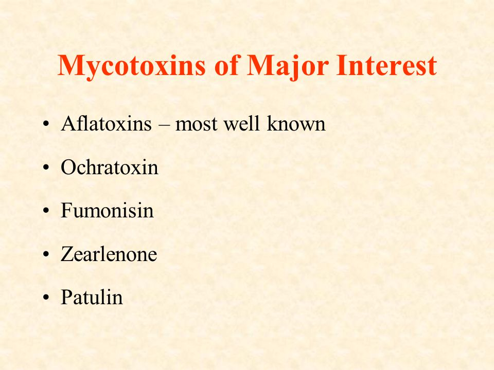 Mycotoxins of Major Interest Aflatoxins – most well known Ochratoxin Fumonisin Zearlenone Patulin