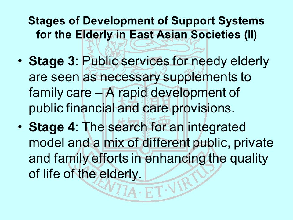 Stages of Development of Support Systems for the Elderly in East Asian Societies (II) Stage 3: Public services for needy elderly are seen as necessary supplements to family care – A rapid development of public financial and care provisions.