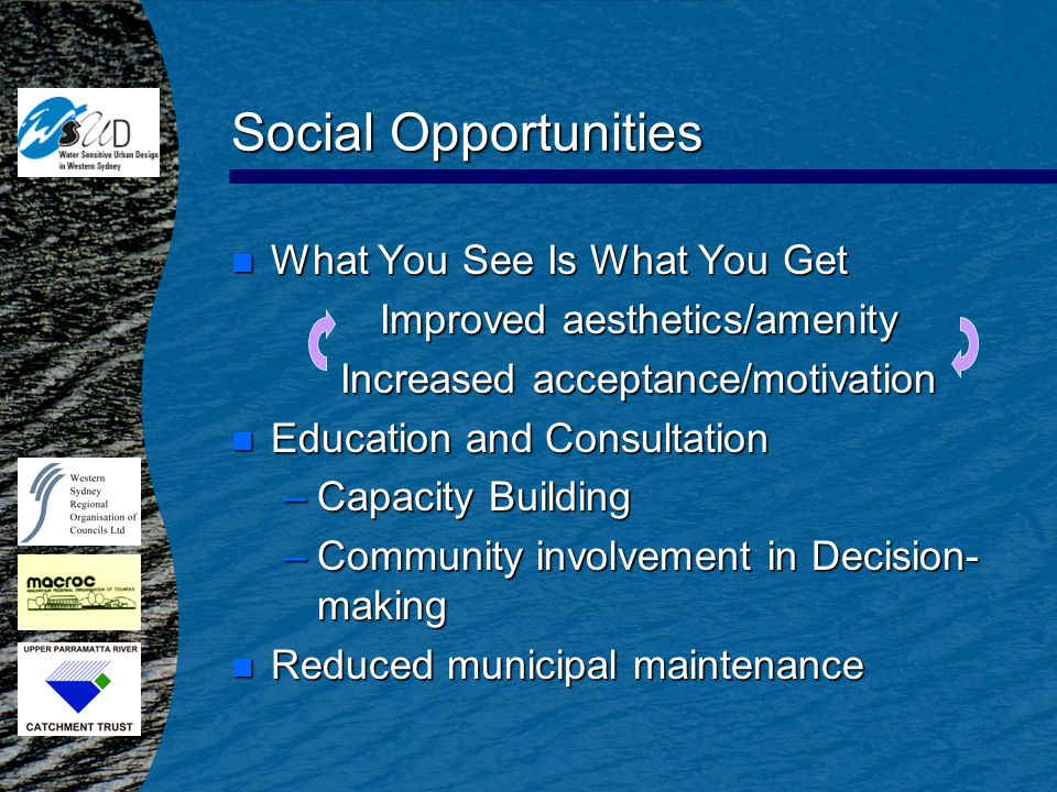 Social Opportunities n What You See Is What You Get Improved aesthetics/amenity Increased acceptance/motivation n Education and Consultation –Capacity Building –Community involvement in Decision- making n Reduced municipal maintenance