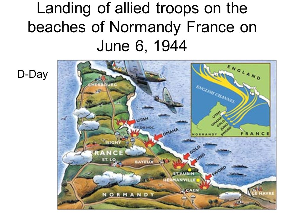 Landing of allied troops on the beaches of Normandy France on June 6, 1944 D-Day