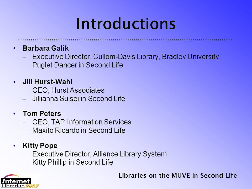Libraries on the MUVE in Second Life Map of the Alliance Information Archipelago