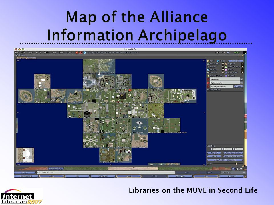 Libraries on the MUVE in Second Life Opportunities Moving Forward Continued rapid growth & development Relatively easy and inexpensive to develop and test prototype services Diverse international community Trust, Authority, Comradeship, etc.