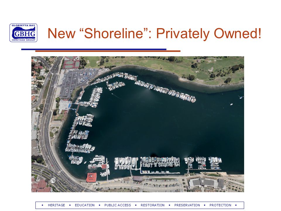 HERITAGE EDUCATION PUBLIC ACCESS RESTORATION PRESERVATION PROTECTION New Shoreline : Privately Owned!