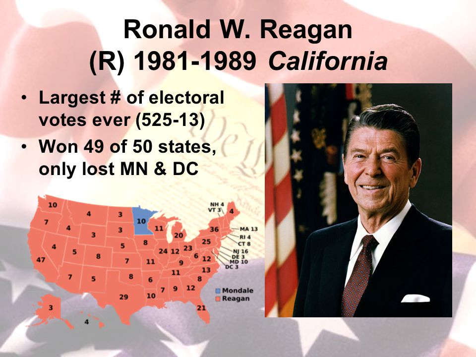 Ronald W. Reagan (R) 1981-1989 California Largest # of electoral votes ever (525-13) Won 49 of 50 states, only lost MN & DC