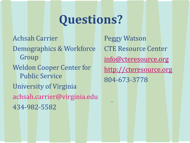 Questions? Achsah Carrier Demographics & Workforce Group Weldon Cooper Center for Public Service University of Virginia achsah.carrier@virginia.edu 43