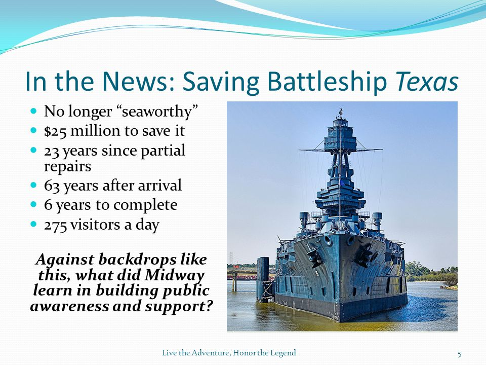 In the News: Saving Battleship Texas No longer seaworthy $25 million to save it 23 years since partial repairs 63 years after arrival 6 years to complete 275 visitors a day Against backdrops like this, what did Midway learn in building public awareness and support.