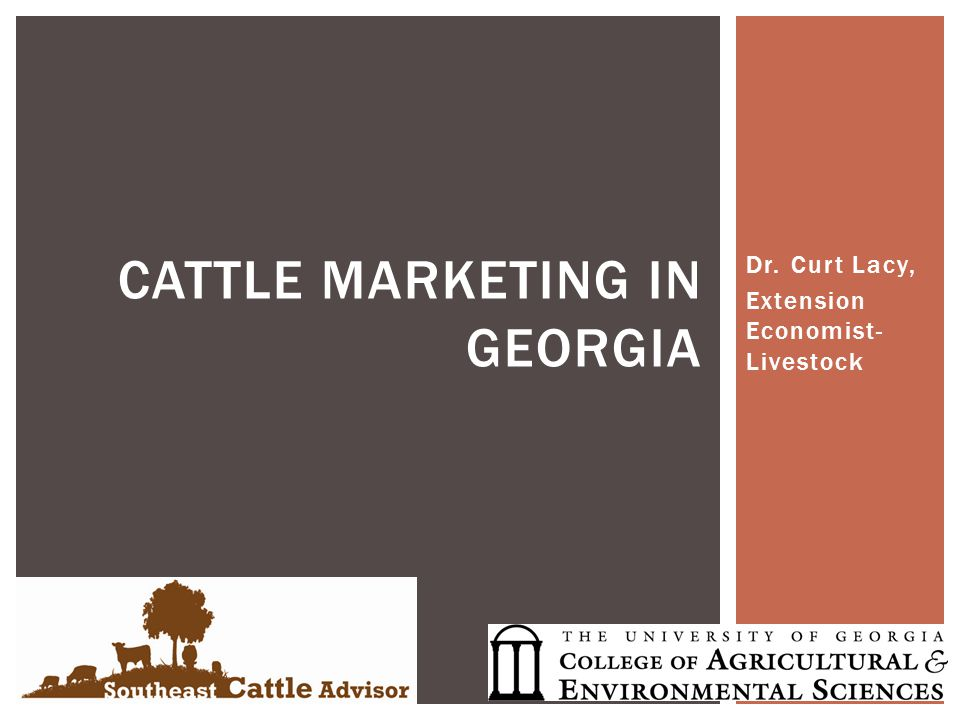 Dr. Curt Lacy, Extension Economist- Livestock CATTLE MARKETING IN GEORGIA