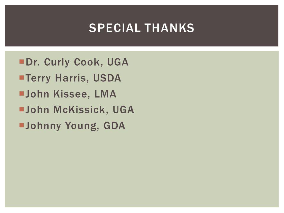  Dr. Curly Cook, UGA  Terry Harris, USDA  John Kissee, LMA  John McKissick, UGA  Johnny Young, GDA SPECIAL THANKS