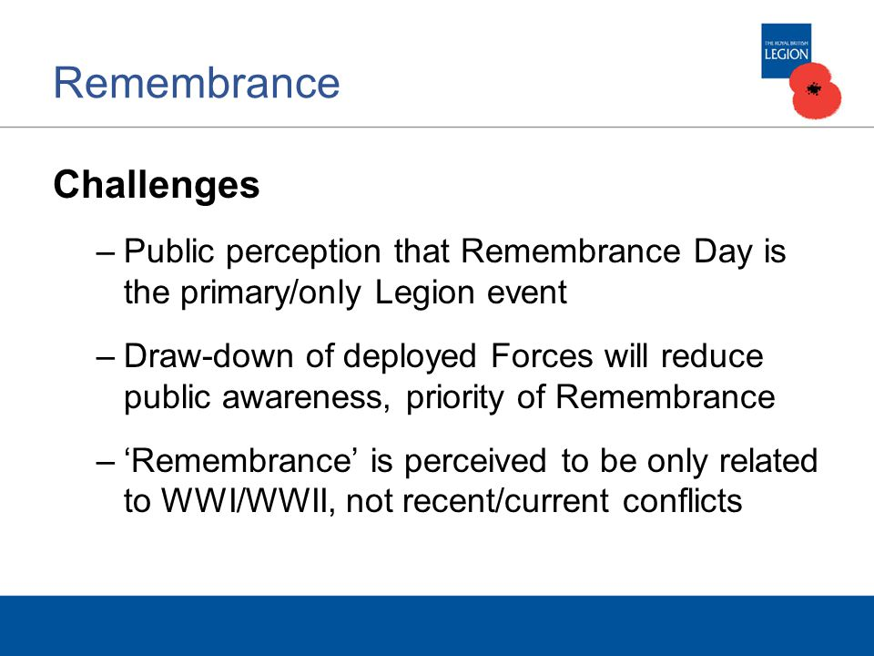 Remembrance Challenges –Public perception that Remembrance Day is the primary/only Legion event –Draw-down of deployed Forces will reduce public awareness, priority of Remembrance –'Remembrance' is perceived to be only related to WWI/WWII, not recent/current conflicts