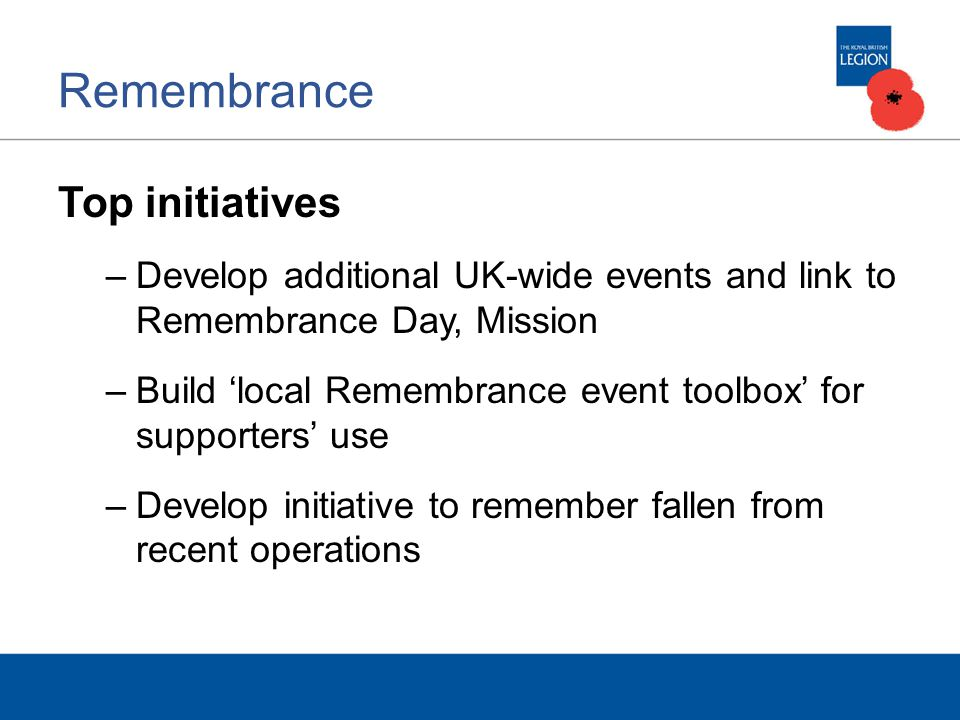 Remembrance Top initiatives –Develop additional UK-wide events and link to Remembrance Day, Mission –Build 'local Remembrance event toolbox' for supporters' use –Develop initiative to remember fallen from recent operations