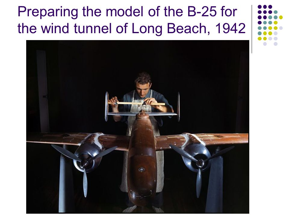 B25: Preparation for the wind tunnel of North American 1942